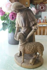 Hand Carved Woman W/ Sheep Artesanias El Zipa Bogota, Colombia