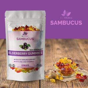 Premium Organic Sambucus Elderberry Gummies Immune Support Vitamin C & Zinc Extr