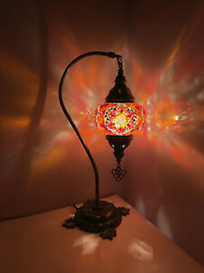 Turkish Red Colour Moroccan Mosaic Handmade Glass Desk Table Lamp