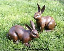Chinese Folk Bronze Copper Feng Shui Zodiac Year Rabbit Hare bunny A Pair
