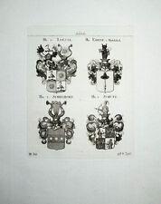 1816 Loessl Ehrne von Melechthal Schelhorn Schütz 4 Kupferstich-Wappen Tyroff