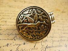 Vintage Bronze Hummingbird Bird Flower Design Coin Costume Jewellery Ring