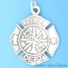 FIRE DEPARTMENT BADGE FIREFIGHTER .925 Sterling Silver Charm Pendant MADE IN USA