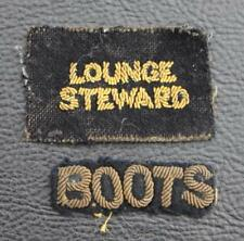 CUNARD WHITE STAR LINE RMS QUEEN MARY LOUNGE STEWARD & BOOTS GOLD WIRE BADGES