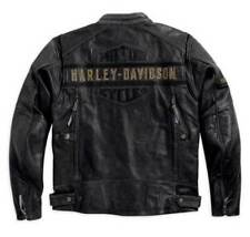 Men's HD Biker Distressed Black Motorcycle Real Cow Leather Jacket