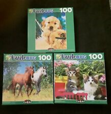 🌞 100 Piece Jigsaw Puzzle (Lot of 3) Dog Puppy Horses Kittens Cat