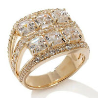3.79Ct Asscher & Round Diamond Bridal Ring 14k Yellow Gold 6