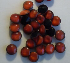 72 Vintage Glass Rhinestones Round Terra Red Black Dome Top Germany 48ss H3-4