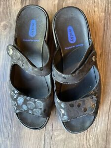 WOLKY Black Adjustable Two-Strap Slip-On Slides Sandals 39/9