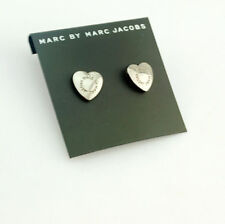 Awesome Marc by Marc Jacobs Black Silver Heart Logo Stud Post Pierced Earrings