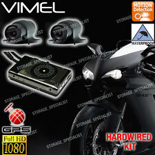 Dual MotorBike camera MotorCycle Dash Car GPS Waterproof Hardwired Kit Truck