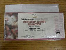 07/02/1998 Ticket: Derby County v Aston Villa [Directors Lounge Invitation]. Tha