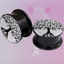 1 Pair Acrylic Tree of Life Double Saddle Ear Plug Gauge Flesh Tunnel Stretcher