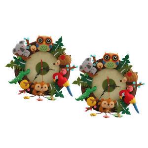 2 Sets Non Woven Felt Applique Clock Kit for Diy Project Forest Animal Beginner