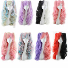 Halloween Lolita Full Curly Wig Pigtails Wavy Hair Cosplay Costume Anime Party