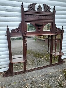ANTIQUE VICTORIAN MAHOGANY  OVERMANTLE MIRROR WITH SHELVES BEVELLED PLATE