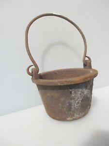 "Large Victorian Iron Glue Pot Antique Vintage Old Planter Cauldron Smelting 7""W"