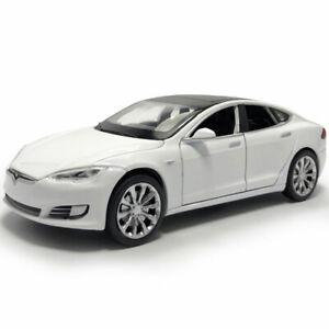 1:32 Tesla Model S 100D Model Diecast Car Pull Back Vehicle Toy Cars Gift White