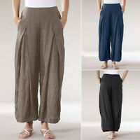 ZANZEA Women Casual Plain Elastic Waist Wide Legs Harem Pants Baggy Trousers