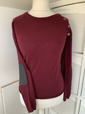Zadig & Voltaire Burgundy Cashmere & Wool Blend Leather Patch Jumper - Size M