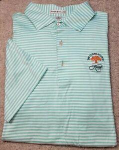 PETER MILLAR KIAWAH ISLAND-Green/Wht Stripe Cttn, Mens SS, Summer Golf Shirt-(M)