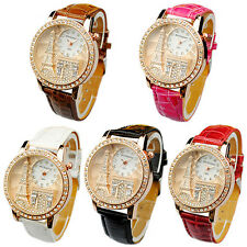 Casual Women Lady Eiffel Tower Dial Faux Leather Band Quartz Wrist Watch Hot