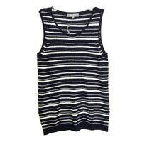 Marled Reunited Clothing Size Large Blue Striped Sleeveless Sweater