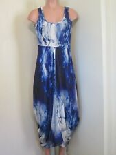 DECA PARIS (COMBINASION VICHY) BLUE/WHITE ABSTRACT PRINT TUNIC DRESS, TAILLE 2