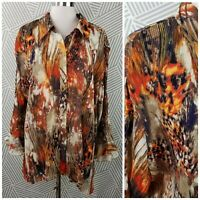 Essentials Plus Size 3X 22/24 Top Abstract Butterfly Wing Pleated button up
