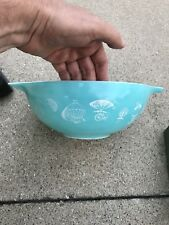 PYREX 1958 Turquoise Blue Chip Bowl #444 Hot Air Balloon