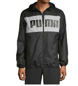PUMA Windbreaker Jacket Mens Authentic New Black Full Zipper Hooded Long Sleeve