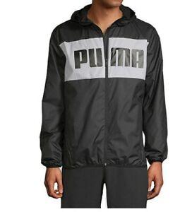 PUMA Windbreaker Jacket Mens Authentic New Black Full Zipper Hooded Long Sleeve