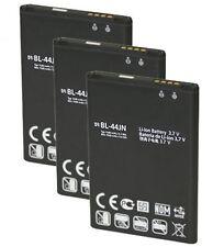 3X New 1500mAh Replacement Batteries BL-44JN for LG Optimus Slider VM701, L35G