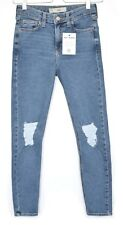 Topshop SUPER SKINNY JAMIE High Waisted Blue RIPPED FRAYED Jeans 12 W30 L30