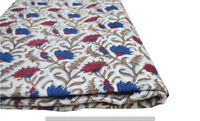Indian 100% Cotton Voile Fabric red Multi Sewing Hand Block Print Craft 10 yard