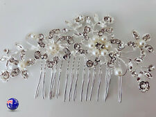 Women Wedding Bride Bling Rhinestone Crystal Pearl Hair Comb head piece Pin Clip