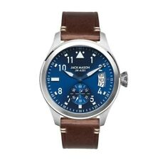 NEVER USED JACK MASON AVIATOR WATCH / NAVY DIAL BROWN LEATHER STRAPJM-A301-001
