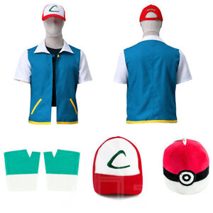 Adult Pokemon Ash Ketchum Trainer Costume Cosplay Jacket + Gloves + Hat + Ball