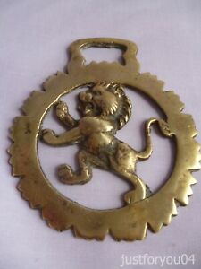 Solid Vintage Horse Brass - Rearing Rampant Lion in a Geometric Cog Design