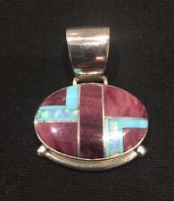 Navajo Jeweler Cathy Webster Purple Agate, Turquoise, Opal Sterling Pendant