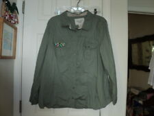American Rag Cie Buttonfront Blouse - Plus Size 2X - Green w/Bling