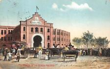 LLEGADA A LA PLAZA MADRID BULL FIGHTING  STADIUM MEXICO POSTCARD 1906