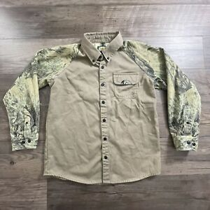 cabela's boy's open country camo button hunting shirt sz lg