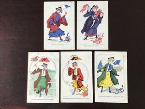 5 Different 1905 Ivy League College Girls Series Football Themed Post Cards