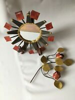 Vtg Pair of Metal Wall Art Decorations Mirror & Rose Stem Handcrafted 1960s-70s.