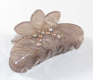 Brand New Sexy Gray Flower Hair Clip Claw w/Clear AB and Brown Crystals