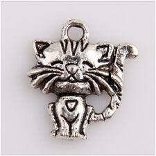 34 Cat Tibetan Silver Charms Pendants Jewelry Making Findings EIF0514