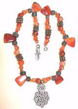 Ethiopian Christian Cross Necklace Antique Carnelian African Metal Ancient Beads