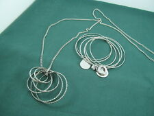 EXPRESS 36 inch Silver Tone Chain with Circle Pendant & Bangle Bracelets NEW