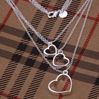 ASAMO Damen Halskette Herz Anhänger Layering Kette 925 Sterling Silber plattiert